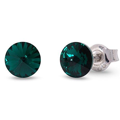 Spark Swarovski Elements Damen Ohrstecker Sterling Silber 925, Swarovski Kristall 6 mm rund grün