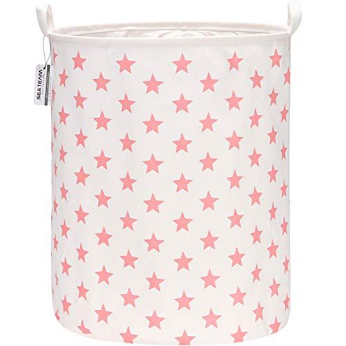 Sea Team - Cesta de almacenamiento de lona de arpillera cilíndrica con revestimiento impermeable de tela de algodón de ramio de 19,7 pulgadas de tamaño grande con diseño de estrella rosada