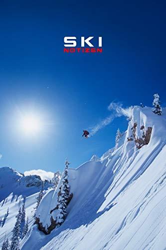 SKI NOTIZEN PUNKTRASTER NOTIZBUCH: 6x9 Zoll (ähnlich A5 Format) Notebook mit springendem Skifahrer Schnee Cover tolle Geschenkidee für Wintersportler Männer Frauen Kinder