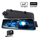 AUTO-VOX V5 Mirror Dash Cam Front and Rear,No Glare Stream Media Rear View Mirror Camera with 9.35'' Full Laminated Touch Screen, 1080P Super Night Vision Backup Camera,GPS Tracking, Parking Mode