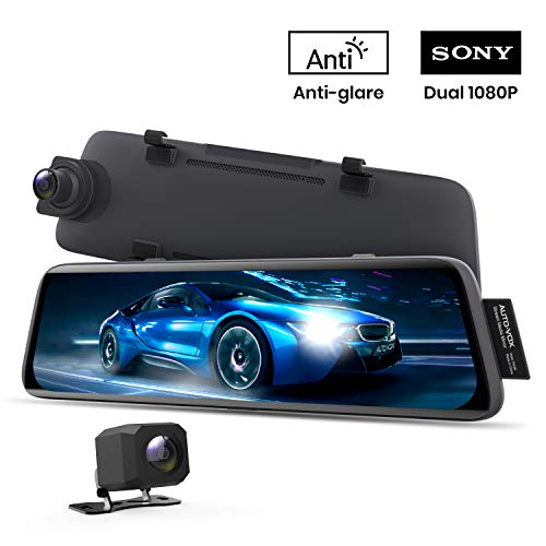 AUTO-VOX V5 Mirror Dash Cam Front and Rear,No Glare Stream Media Rear...
