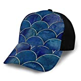 Zhgrong Mermaid Fish Scale Wave Japanese Luxury Seamless 3D Baseball Cap Soft Ajustable Dad Hat para Mujeres Hombres