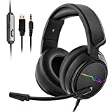 Jeecoo Xiberia Stereo Gaming Headset for PS4, Xbox One S - Noise Cancelling Over Ear Headphones with Microphone - LED Light Soft Earmuffs Bass Surround Compatible with Xbox One PC Laptop Switch Games