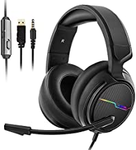 Jeecoo Xiberia Stereo Gaming Headset for PS4 PS5 Xbox One S- Over Ear Headphones with Noise Cancelling Microphone - LED Light Soft Earmuffs for PC Laptops Mobiles