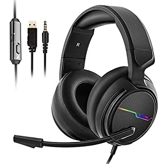 Jeecoo Xiberia Stereo Gaming Headset for PS4 PS5 Xbox One S- Over Ear Headphones with Noise Cancelling Microphone - LED Light Soft Earmuffs for PC Laptops Mobiles (B07L3SXCL9) | Amazon price tracker / tracking, Amazon price history charts, Amazon price watches, Amazon price drop alerts