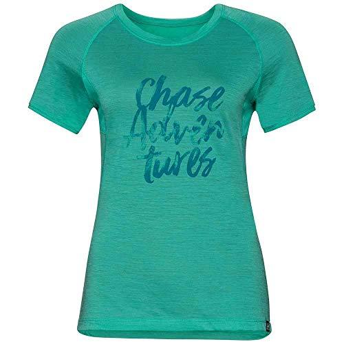 Odlo Koya Ceramiwool T-Shirt à col Rond pour Femme Imprimé ceramiwool Taille S/S M Vert Piscine/imprimé placé SS18