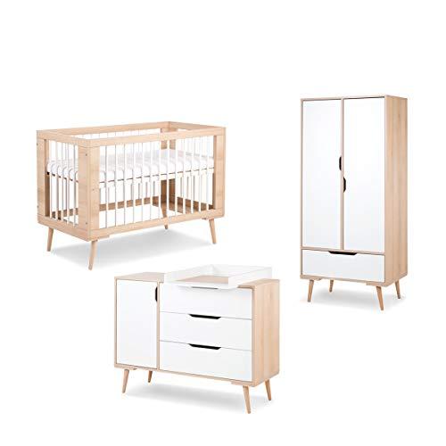 Chambre complète lit bébé 60x120 - commode à langer - armoire 2 portes LittleSky by Klups Sofie - Hêtre et blanc