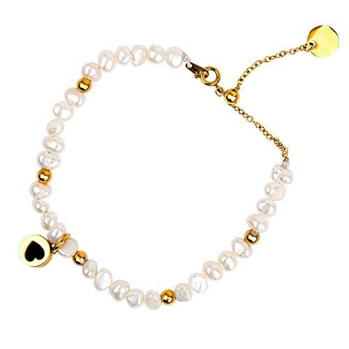 Célia von Barchewitz Perlen Armband Damen Duft Diffusor Keramik Aroma-Stein Herz Parfum Weiß Süßwasser-Zuchtperlen Klein Mit Edelstahl Verstellbar Farbe Gold