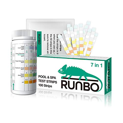 RUNBO Pool Test Strips 7-in-1 (100 Count), Quality Testing Strips - Simple and Easy - Test Free...