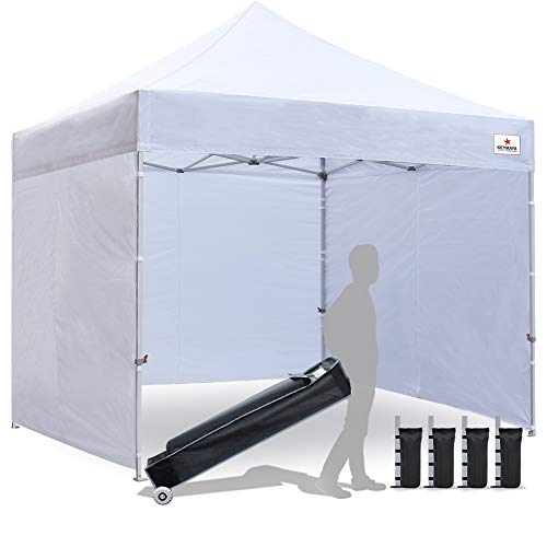 Keymaya 10x10 Ez Pop Up Canopy Tent Commercial Instant Shelter with 4 Removable sidewalls Bonus Weight Bag 4-pc Pack (White)