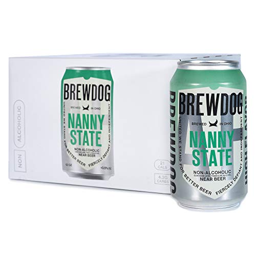 BrewDog - Nanny State Non-Alcoholic, Hoppy Ale, 12 Pack, 21 Calories, 4.3g Carbs Per Serving, 12oz Cans