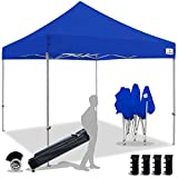 Keymaya 10x10 Ez Pop Up Canopy Tent Commercial Instant Shelter Canopies with Heavy Duty Roller Bag,Bonus 4 Canopy Sand Bags (Royal Blue)