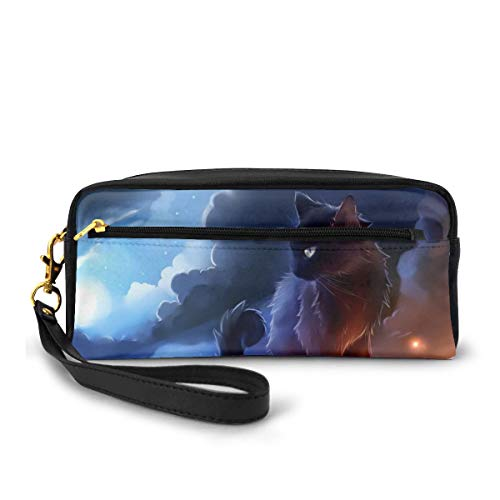 Cat Warrior Pencil Case Big Capacity Multifunction Storage Pouch Leather Cosmetic Makeup Bag, Stationery Organizer with Zipper for School Office