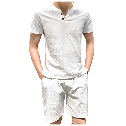 nopinpai Herren Zweiteiliger Leinenhemd-Shorts-Set Sommer T-Shirt Bequem Kurzarm Tshirt Sommerhemd mit Kurz Hosen Basic Shirt Loose Fit Männer Freizeit Hausanzug Leinen Hemd Freizeithemd