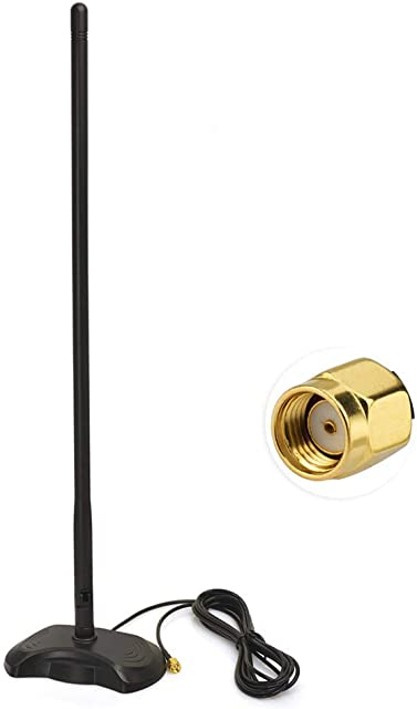 Bingfu Antena 4G LTE Antena WiFi Base de Montaje magnética 15dbi Omni-Direccional Antena con Adaptador RP-SMA 2.5m 8.2 ft Cable de Extensión para Cámara IP de Seguridad WiFi Adaptador USB