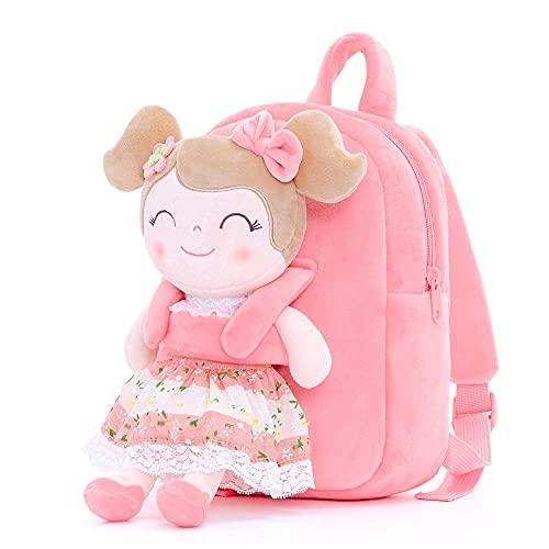 Gloveleya Toddler Backpack Baby Girl Gift Plush Bag Diaper Bag with Spring Girl Doll Pink 9 Inches