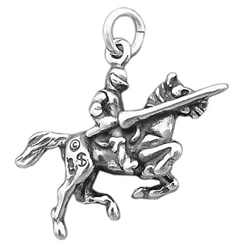 Knight in Jousting Armor on Horse Medieval Joust 3D 925 Solid Sterling Silver Charm Jewelry Making Supply Pendant Bracelet Crafting