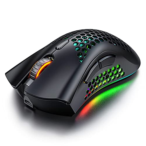 Wireless Gaming Mouse, Rechargeable Computer Mouse with RGB , 7 Sensitive Buttons, 3 Adjustable DPI, USB Receiver, Ergonomic Honeycomb Optical Gaming Mice for Laptop, PC, Computer, MacBook (Black)