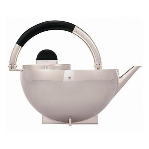 Tecnolumen Bauhaus Teekanne, 925 silber Henkel Ebenholz H:17,5 cm Ø 16,7 cm