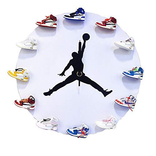 YFBB Reloj de Pared Mini Zapatillas 3D, diseño novedoso Reloj de Pared con Zapatillas 3D, diseño novedoso Reloj de Pared con Zapatillas 3D hogar, la Cocina y la salaWhite-B New