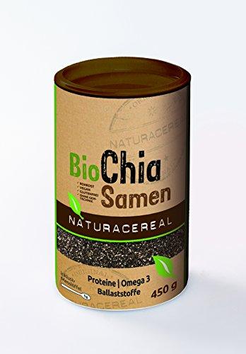 NATURACEREAL Semillas de Chia orgánicas 450gr.- | Apto para veganos | Libre de Gluten | Contenido importante de Proteínas, Fibras y Omega 3 |