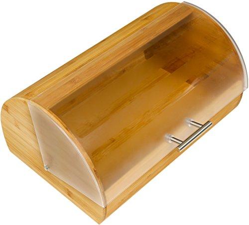 Harcas Brotkasten aus Bambus. Lichtundurchlässiger Rolldeckel. Zur Aufbewahrung von Brot, Brötchen, Kuchen und Backwaren. Ideal für die Küche. Größe 39cm x 26,5cm x 19cm