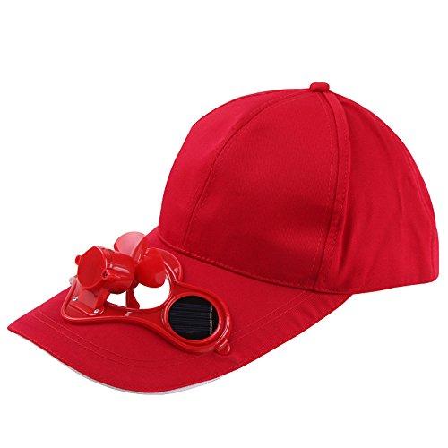 Sun Hat, Clearance Solar Fan Cap Camping Hiking Peaked Cap with Solar Powered Fan Baseball Hat Cooling Visor Fashion Cap lkoezi (302012cm, Red-C)