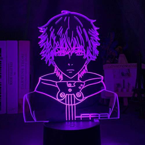 Luminária de ilusão 3D Anime 3D Luz noturna LED Tokyo Ghoul Ken Kaneki Face noturna para sala de leitura, decoração de sala de leitura, presente de anime para lâmpada de mesa de aniversário USB para crianças 7 cores Touch HOICHAN