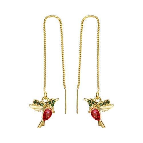 Janly Clearance Sale Pendientes para mujer, diseño de colibrí de circón, colgante largo con cadena para mujer, regalo de cumpleaños para el día de San Valentín, regalo para mujeres y niñas (rojo-1)