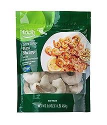 Fresh Brand – Raw Extra Large Peeled & Deveined Tail On Shrimp, 1 lb (Frozen)