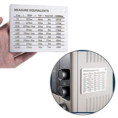 SOONHUA Edelstahl-Kühlschrankmagnet, magnetische Messtabelle, Umwandlung für Tassen, Esslöffel, Teelöffel, Flüssigkeit, Oz Milliliter