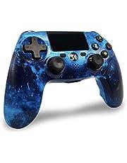 Lioeo Controller Draadloze voor PS4, Controller Bluetooth Dubbele Shock Joystick met Audio Functie, LED Indicator High Performance Gamepad voor Playstation 4/Pro/Slim/PC (Universum Blue)