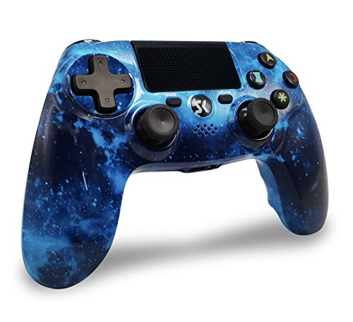 PS4 Controller Wireless Bluetooth, PS4 Gamepad Controller mit Dual Vibration Shock SIX-AXIS Touchpad 3,5mm Headset Ausgang für Playstation 4 / PS4 Pro/ PS3/ PC (Universum Blau)