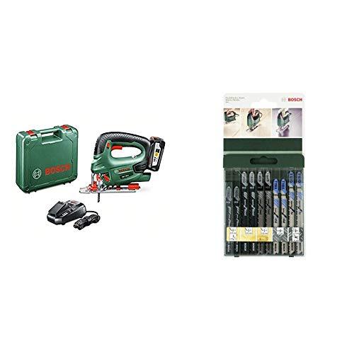 Bosch PST 18 LI - Sierra de calar a batería de 18 V + Bosch 2 609 256 746 - Juego de hojas de sierra de calar de 10 piezas...