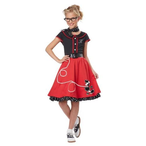 fad3183bd California Costumes Child's 50's Sweetheart Costume, Red/Black, X-Large
