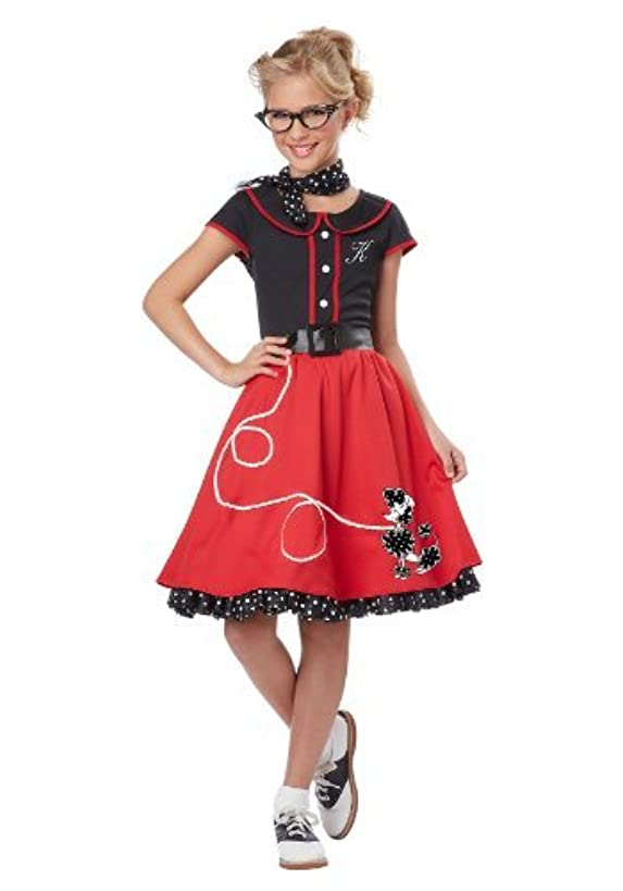 California Costumes Child's 50's Sweetheart Costume, Red/Black, X-Large