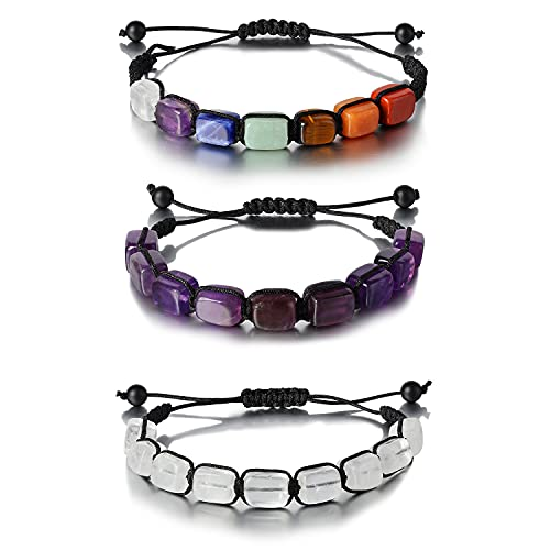 3 Pack 7 Chakra Stone Yoga Bracelet Reiki Healing Crystal Natural Gemstone Braided Rope Bracelets for Women Girl