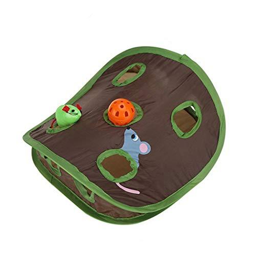 QIjinlook Katzenmäuse Verstecken und Seek Spiel Pop-Up flexibel Intelligenzspielzeug Mausjagd Katzenspielzeug mit Glockenball Maus Löcher interaktives Mausjagd Spielzeug Katzen (Braun)
