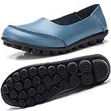 Gaatpot Mujer Mocasines de Cuero Vintage Flores Loafers Casual Respirable de Deslizamiento Zapatos de Conducción Zapatillas Beige 41.5 EU = 43 CN