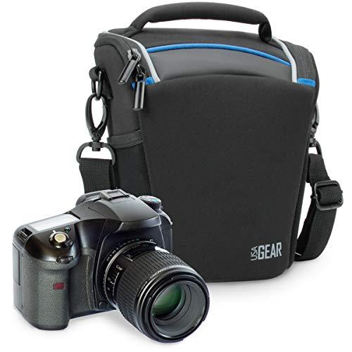USA Gear | Bolsa para Cámara de Fotos Réflex Digital | Compatible: Canon, Nikon, Sony y más | Negro