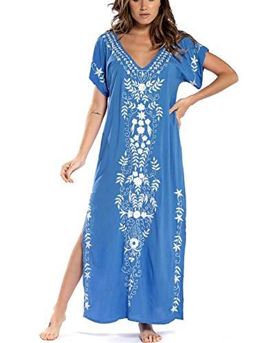 Bsubseach V Neck Caftan Swimsuit Cover Up for Women Short Sleeve Beach Swimwear Turkish Kaftan Blue