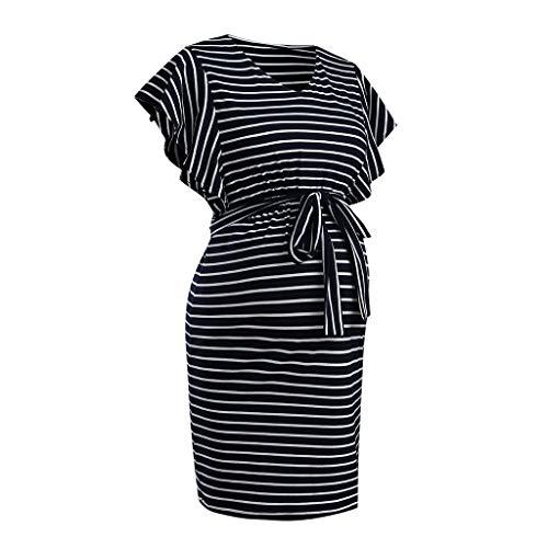 Vuncio Vestido de maternidad para mujer, a rayas, casual, verano, talla grande, informal, manga corta, vestido de maternidad, vestido maxi con cinturón azul marino XXL