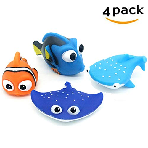 ALLCELE Baby Badespielzeug, Finden Dory Nemo Spritzen Spielzeug für Baby & Kleinkind Spielzeug Dusche und Schwimmen 4 stücke