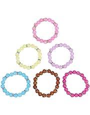 Toyvian 6Pcs Beaded Bracelets for Kids Little Girl Plastic Bracelets Kids Birthday Party Favor Gifts