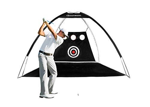 CROSSFINGERS - Rete da golf (3 x 2 m) con bersaglio e fori per scheggiare, una rete da golf perfetta con borsa per il trasporto portatile per affilare le tue abilità di colpi/scheggiatura/guida