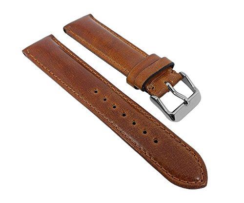 Minott Uhrenarmband Cordovan Pferdeleder Leder Braun mit Naht Handgearbeitet 27266, Schließe:Silbern, Stegbreite:21mm