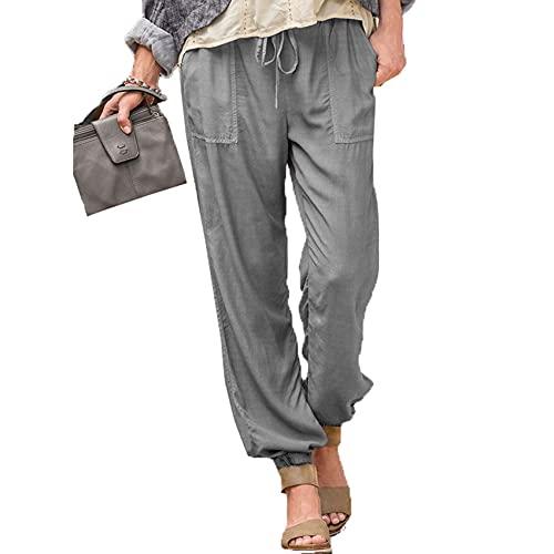 WJANYHN Damen Schnürhose Einfarbig Stretch Kordelzug Tasche Freizeithose