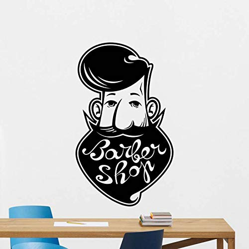 ASFGA Abstraktes Geschäft Rasiermesser Aufkleber Friseursalon Friseur Aufkleber Mann Blume Bart Haarschnitt Poster Vinyl Wandkunst Aufkleber Dekoration Fensterdekoration Wandbild 104x174cm