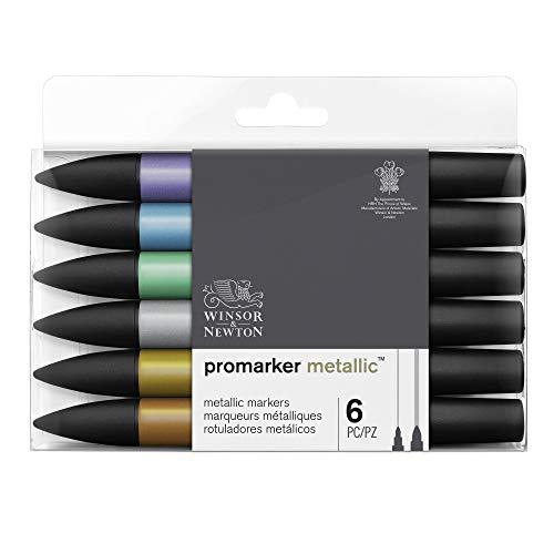 Winsor & Newton Promarker Metallic - 6 pennarelli colori Metallici