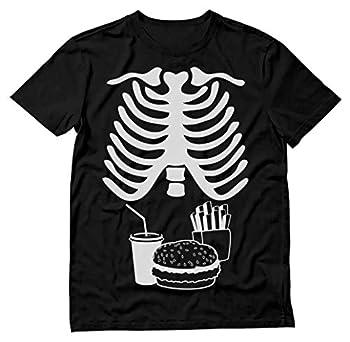 Halloween Rib Cage Skeleton Junk Food Belly Xray Funny Men s T-Shirt X-Large Black